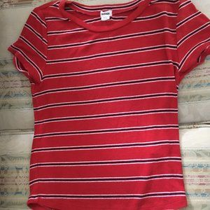 Red teeshirt with black and white stripes
